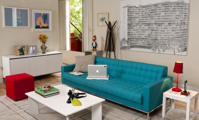 Sala com sofa azul turquesa e amarelo pesquisa google - Sofa azul turquesa ...