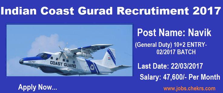 Indian Coast Guard Recruitment Navik (General Duty) Posts