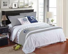 100% Mısır pamuk 6pc/set 5 yıldızlı otel yatak seti beyaz ve mavi lüks otel çarşaf seti nevresim seti yastık örtüsü(China (Mainland))