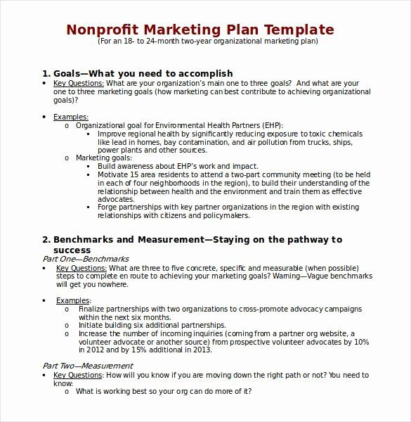 Free Nonprofit Business Plan Template Elegant Free Business Plan Template For Non Profit Organizati Nonprofit Marketing Plan Nonprofit Marketing Marketing Plan