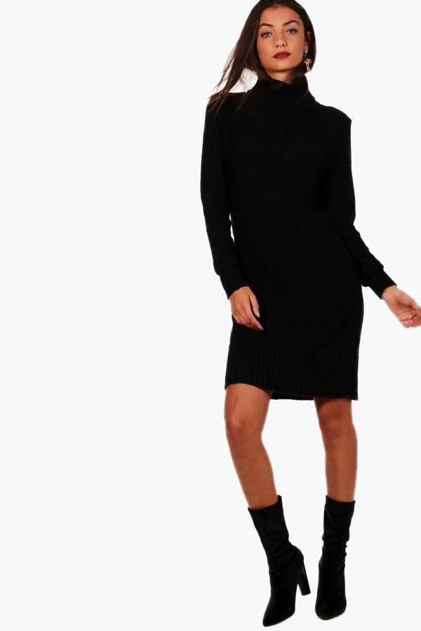 boohoo Tall Avery Roll Neck Jumper Dress