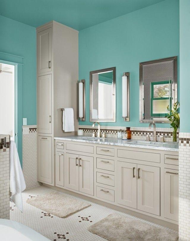 Badezimmer in Blaugrün streichen-Boden mit mosaikfliesen-geometrische muster