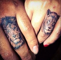 what me and my boyfriend will be getting instead of engagement rings :-P #tattoos #hand #finger #lion #lioness #couple #romantic #goals