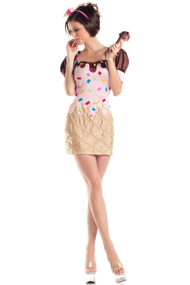 Sexy Womens Summer Frozen Treat Sweet Ice Cream Cone Cutie Halloween Costume #PartyKing