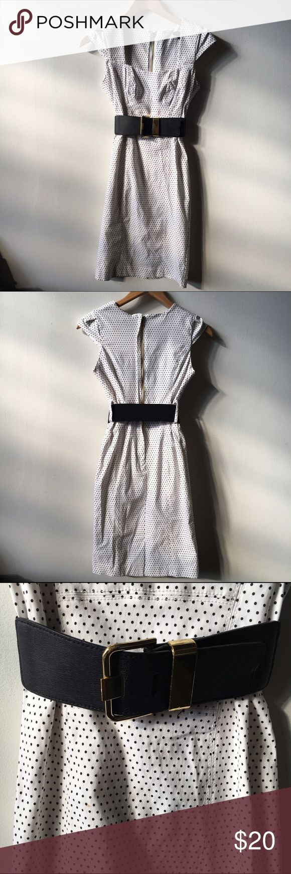 XOXO white polka dot retro belted dress Zippedback Perfect polka dot dress with a thick black and gold belt. Material is stretchy so it will fit more like body con. Very Small stain near belt XOXO Dresses Midi
