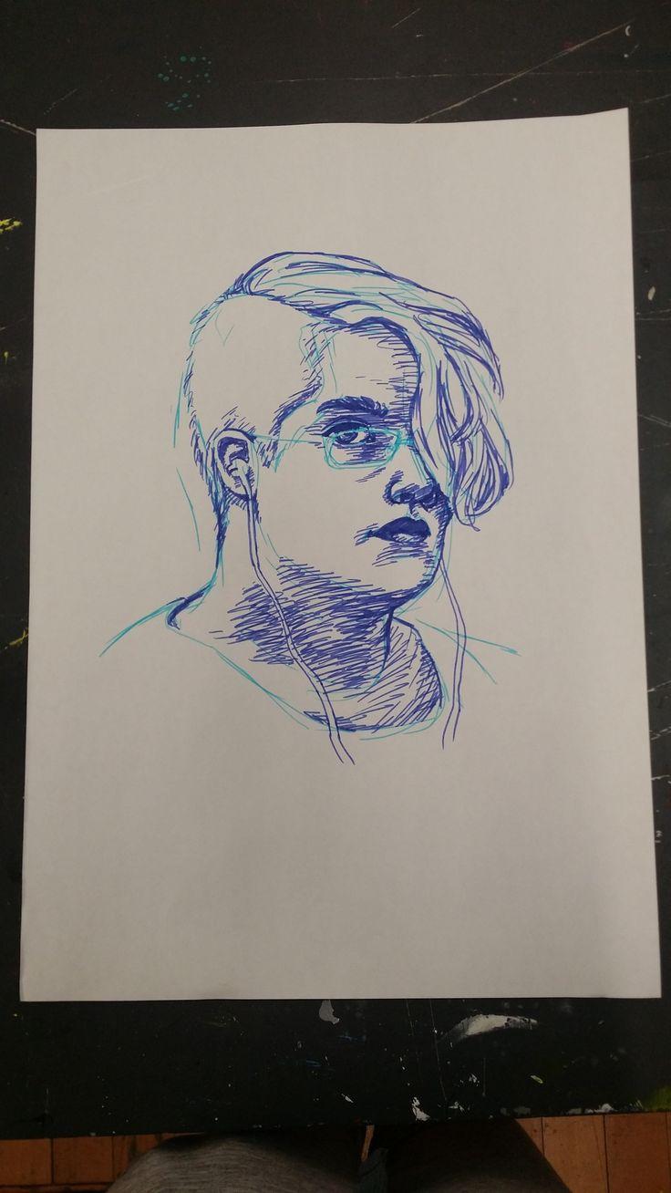 works towards final series - self portrait from mirror - felt pens