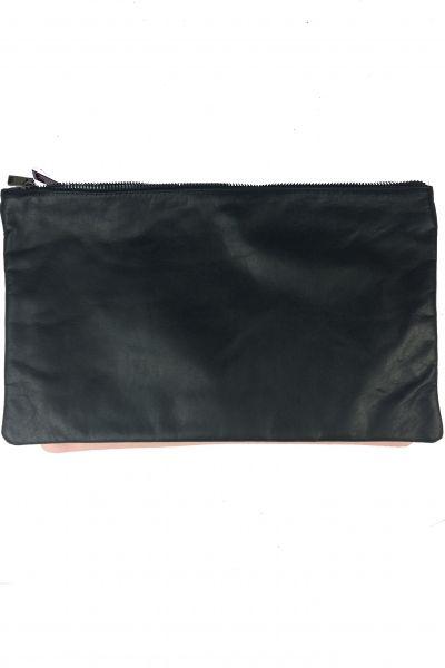 Pochette zippée cuir noire XL