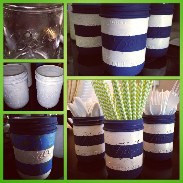 {Artistic Anya Designs} Painted some mason jars for my sister's alligator themed baby shower -inspired by Pottery Barn Alligator Madras Nursery- To see more ideas go to www.artisticanya.blogspot.com