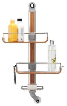 Absolutely the best outdoor shower caddy that I've ever had.  Shelves can slide up and down as well as left to right.  Believe it or not, the metal parts have not corroded in the salt air and the teak is perfect for the wet location. Thumbs up on this one.