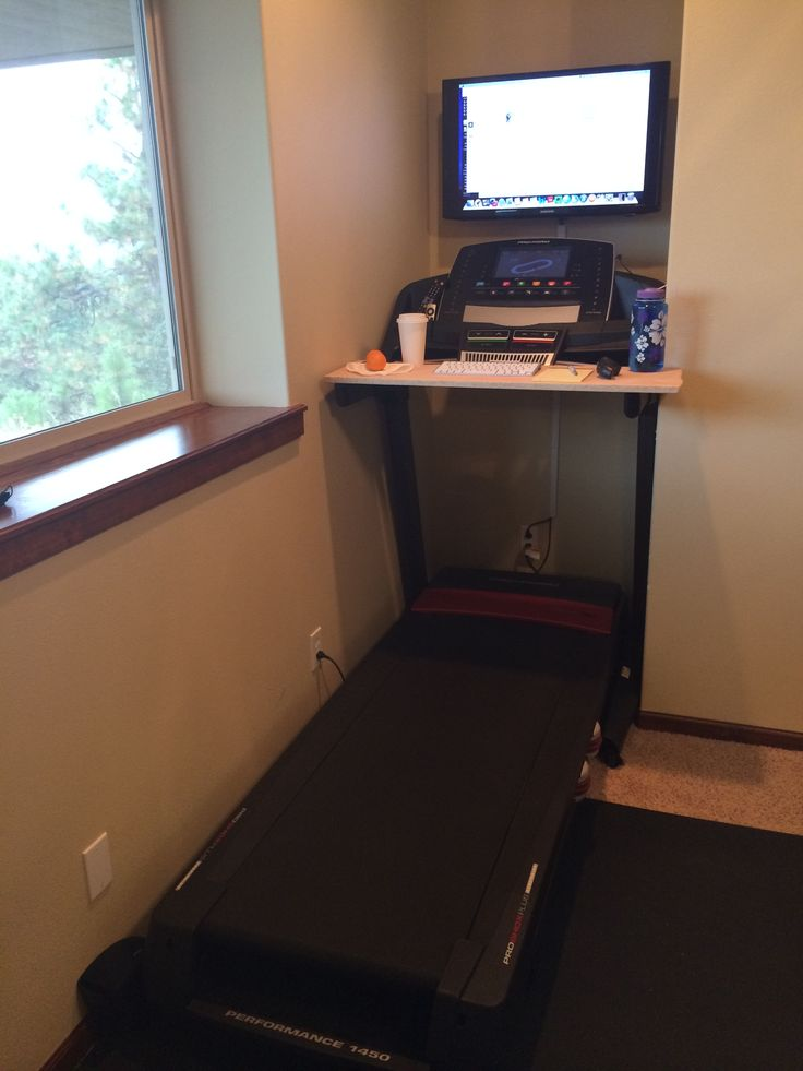 Standing or walking desk. Mount tv on wall behind treadmill and connect laptop wirelessly or with a chord. Place a wooden board across arms of treadmill to hold coffee and keyboard. Ta-da!! You just saved $$$ on a healthier option to sitting all day!