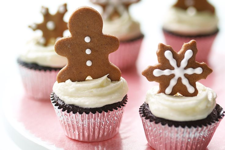 Martha Stewart's chocolate cupcakes with gingerbread toppers.