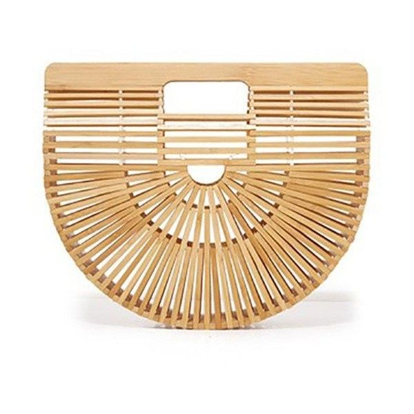 Luxe Bamboo Straw Clutch Bag Khaki or Black featuring polyvore women's fashion bags handbags clutches straw purse beige purse beige handbags straw clutches bamboo handbag