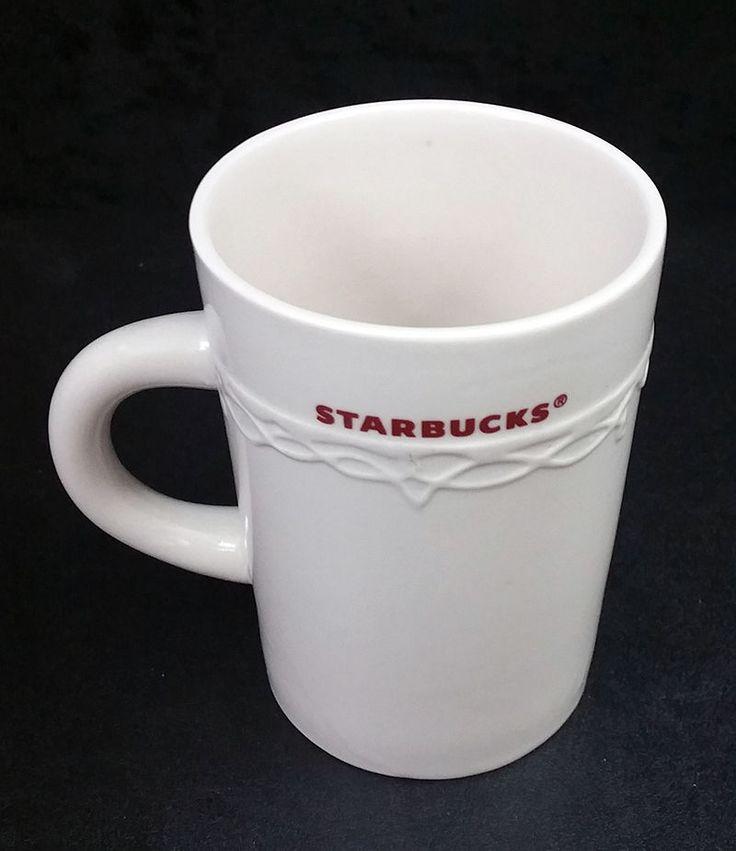 Starbucks Christmas Holiday 2010 Mug White Red Letters Embossed Garland Trim  #Starbucks
