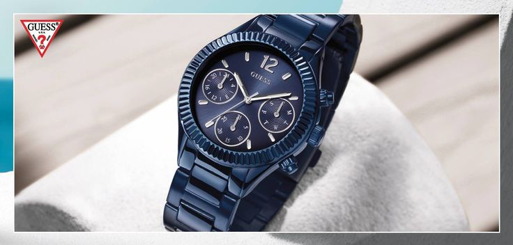 Modern blauw Guess herenhorloge