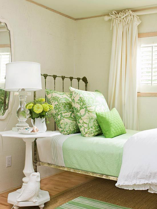 Lovely guest bedroom in a refreshing green.  A green wrought iron bed too, what a find!: Day Beds, Guestroom, Bedrooms Decoration, Side Tables, Green Bedrooms, Guest Bedrooms, Beds Frames, Guest Rooms, Iron Beds