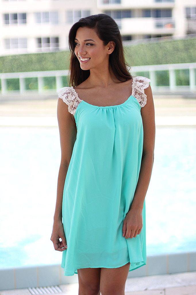 Mint Short Dress With Criss Cross Lace Back