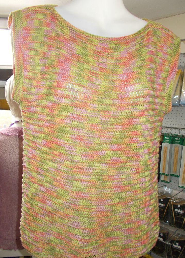 Damenpullover Top Handarbeit Gr.S/ M 100% Bändchen Baumwolle