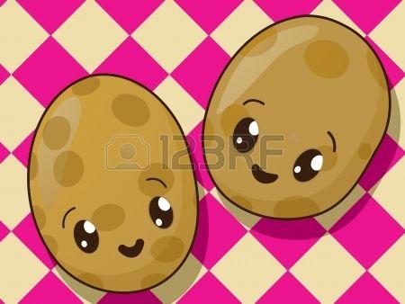 Estilo dibujo iconos patata Kawaii Foto de archivo