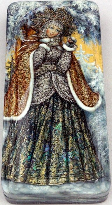 "Fedoskino. Russian Lacquer Art Titled ""Lady Winter"""