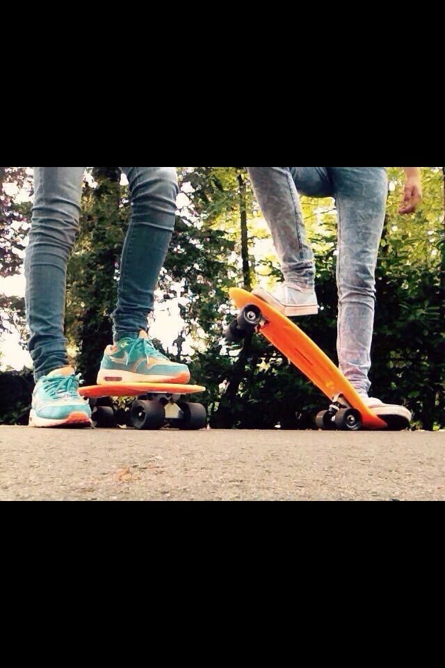 Pennyboarding with my bestiee