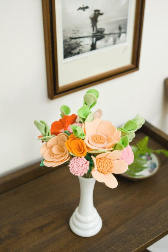 Flowers for the Home - Peach and Orange Felt Flowers - Bedside Flowers - Coffee Table Flowers - Home Decor-