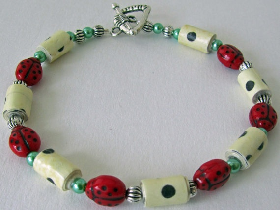 Lucky Ladybugs Paper Bead Bracelet with Black by CheeryBirdStudio, $12.00