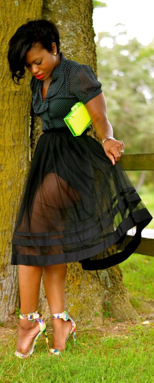 Sheer Skirt - not that cheap clutch tho