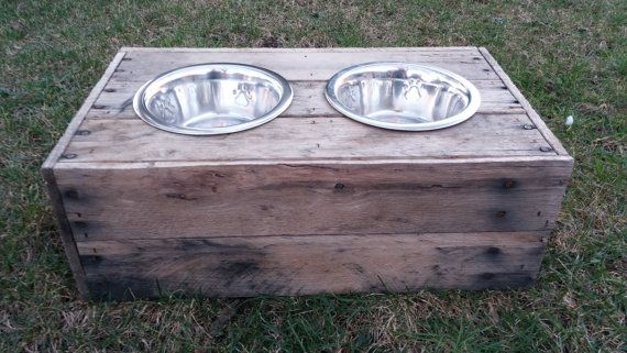 Medium Dog food bowl stand reclaimed custom built by BuddysBowls