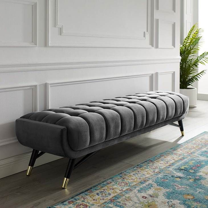 Adept Upholstered Velvet Bench in Gray - Lifestyle ...