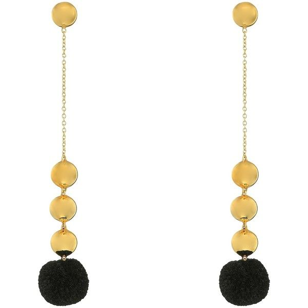 Elizabeth and James Boca Earrings (Black) Earring (285 BRL) ❤ liked on Polyvore featuring jewelry, earrings, black, pom pom jewellery, elizabeth and james earrings, chain link earrings, elizabeth and james jewelry and post earrings