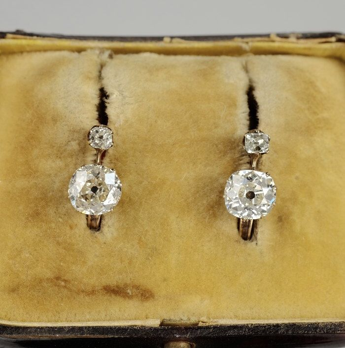 Victorian spectacular 1.90 Ct old cushion solitaire diamond earrings by hawkantiques on Etsy https://www.etsy.com/listing/232350247/victorian-spectacular-190-ct-old-cushion