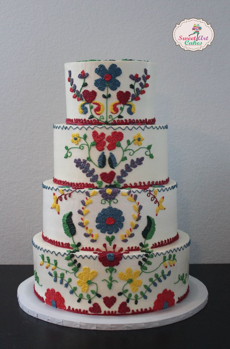 Mexican embroidery weddingcake sweet art cakes
