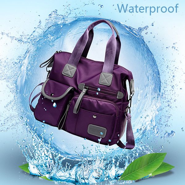 Women Nylon Waterproof  Large Capacity Multi Pocket Multifunction Handbag