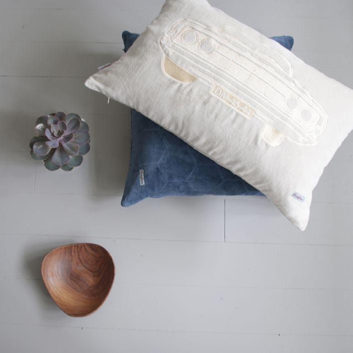 Alva bowl mixed with velvet pillows. An embroidered Ford Fairline