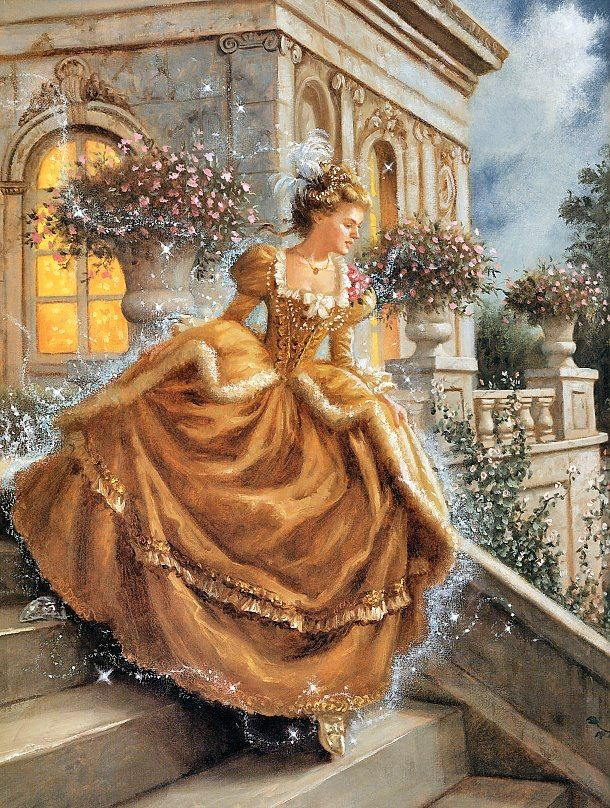 Cinderella. By Ruth Sanderson. Not sure why it's full daylight, but still a very pretty picture.