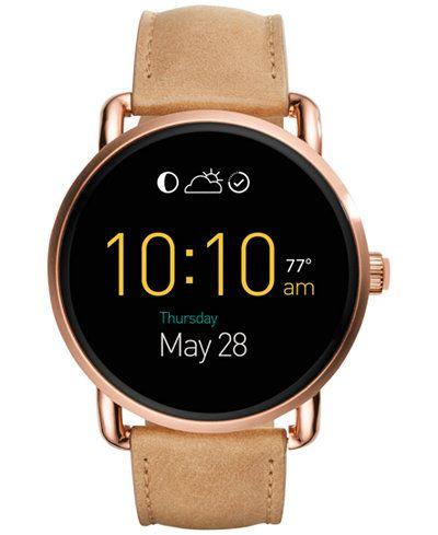 Fossil Women's Digital Q Wander Light Brown Leather Strap Smart Watch 45mm FTW2102