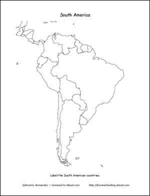 South America Wordsearch, Crossword Puzzle, and More: South America Map