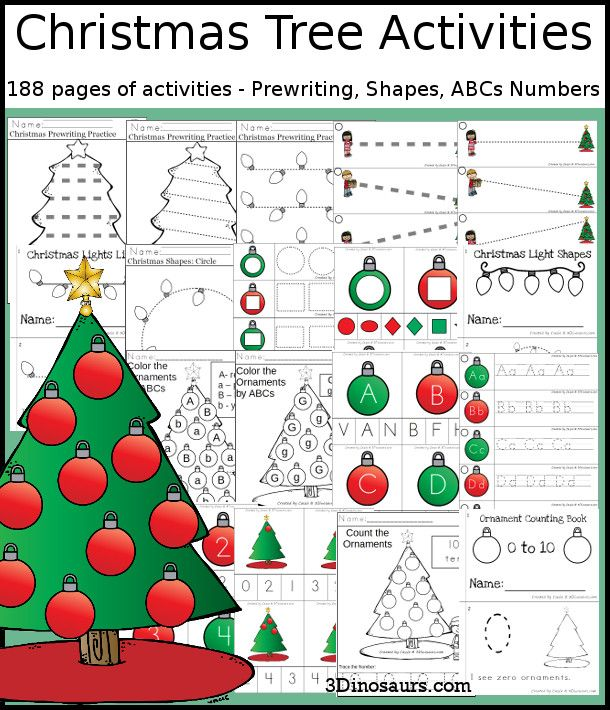 Christmas Tree Activities Prewriting Shapes Abcs And Numbers Christmas Learning Activities Pre Writing Abc Coloring