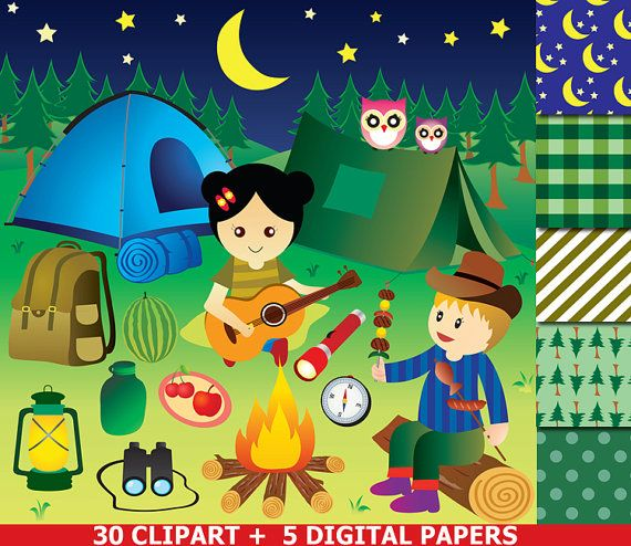 Camping Clipart Party Glamping Camp Clip Art Out Digital