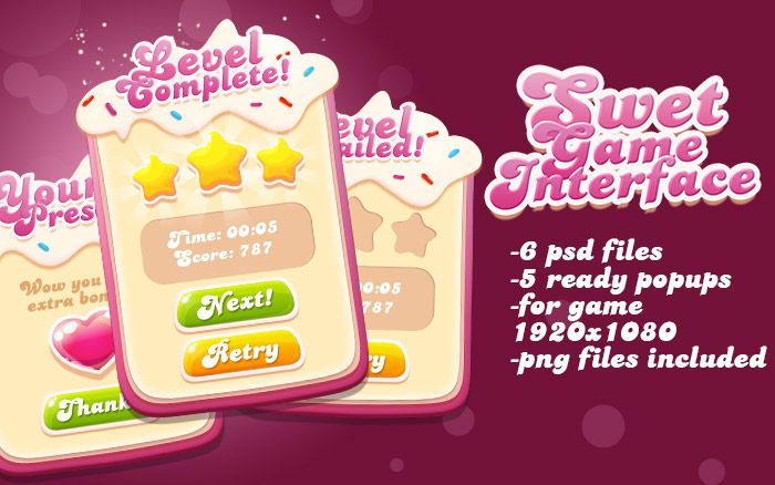 Sweet Pink Game Interface Asset