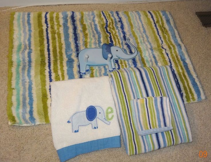 Bathroom Set Pottery Barn Kids Boys Elephant Striped Towels Wall Hangar ~ KH #PotteryBarn