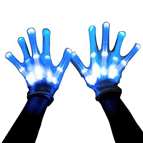 """""""These LED gloves are so funny and look incredible in the dark. You will be impressed by the glowing illusion that these gloves create. The gloves are well made, and currently one size fits most. You can control the light up gloves by a button on the wrist. It has 13 modes: 13 mode: Color changing, red, blue, white, orange, green, purple, pink, yellow, light green, light blue, light pink, lavender. Press the button once for changing mode, long press to turn off. """""""