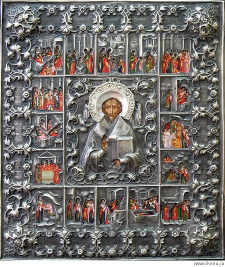 Св. Николай Чудотворец, житейная в окладе
