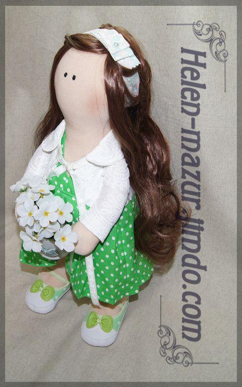 Текстильная кукла с искусственными волосами, набивка - холлофайбер.   Рост  47 см.   Тextile doll with artificial hair, stuffing - a hollofayber. Height 47  cm.