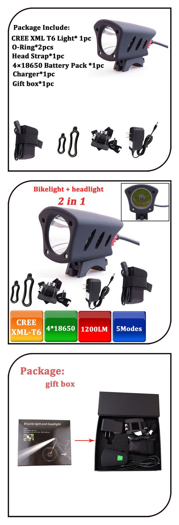 1,  Bulb: 1* CREE XML-T6 LED Bike light  2,  Lamp Shell Material :Aluminum alloy+ABS  3,  Waterproof design  4,  5 Working Modes: High-Mid-Low-Strobe-Flash  5. 1200lumen for high mode. with 6600mah battery pack.  Runtime: 3-4hours for high mode  6. Suit for  Travel,Climbing,Camping,Prospecting, hunting,etc