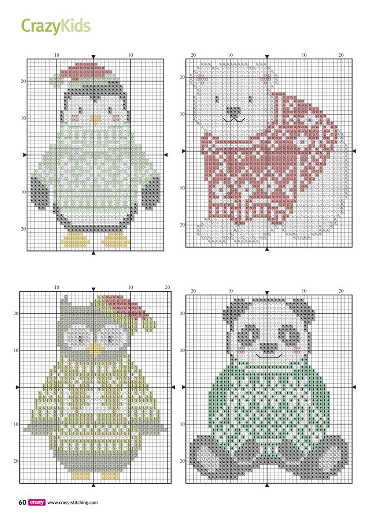 Схема вышивки панда сова медведь пингвин