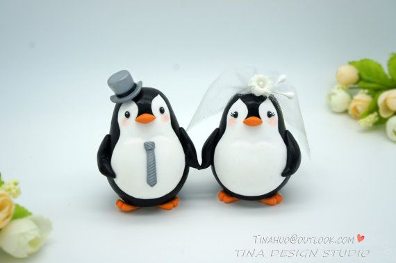 Custom Love Bird Penguin Wedding Cake Toppers -Bride And Groom Penguin Cake Topper