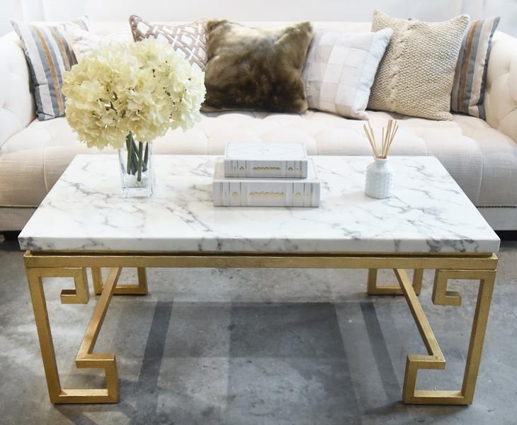 Galatea Marble Coffee Table Ivory Gold Luxury Furniture