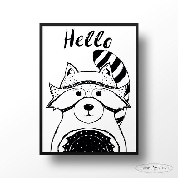 Racoon print-Baby racoon poster-Modern kids wall by LullabySTORY