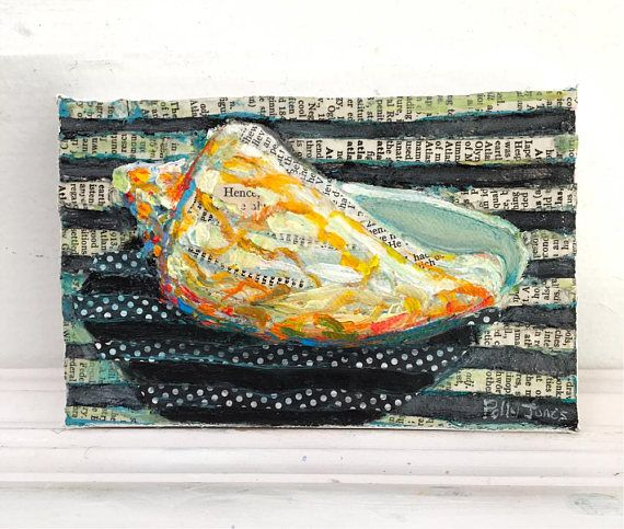 Bat Volute Shell original acrylic mixed media painting by